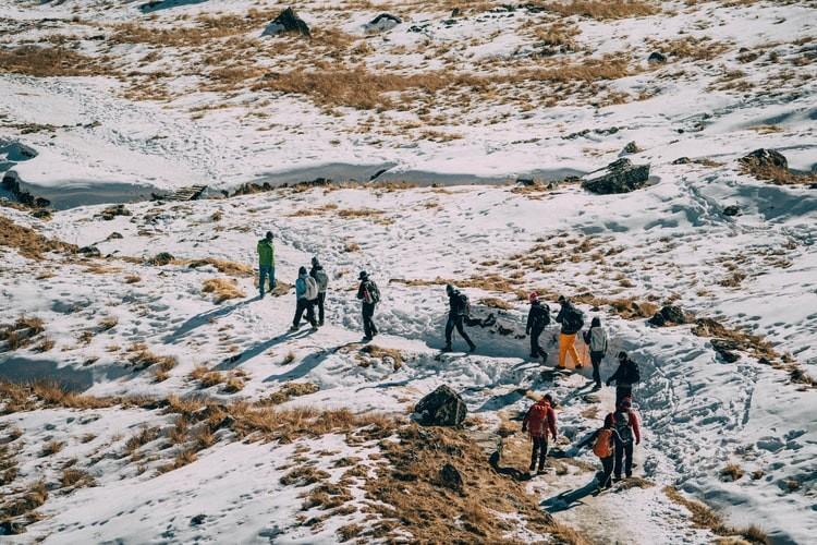 Trekkers on the way to Everest Base Camp Short Trek